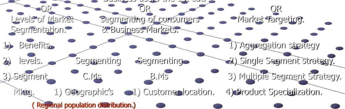 OR Levels of Market Segmentation. OR segmenting of consumers & Business Markets. OR Market Targeting. 1)