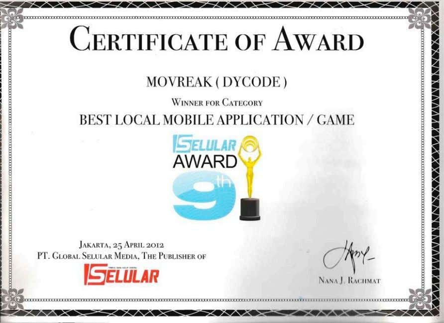 is Best Local Mobile Application/Game of Selular Award 9 th 2012, organized by a leading gadget