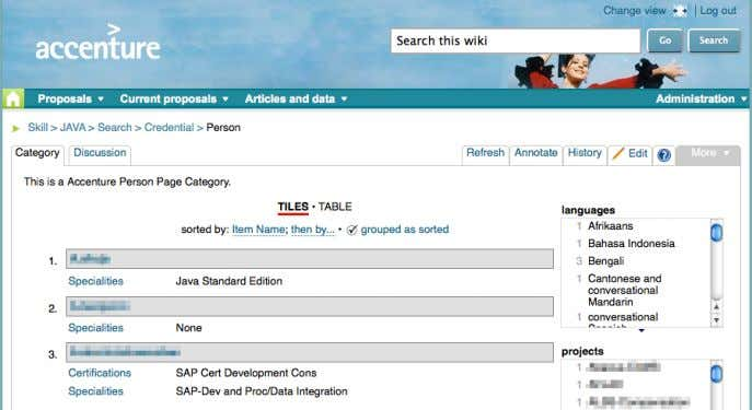 an anonymized example of facetted search using Exhibit . Figure 1: Anonymized wiki content displayed through