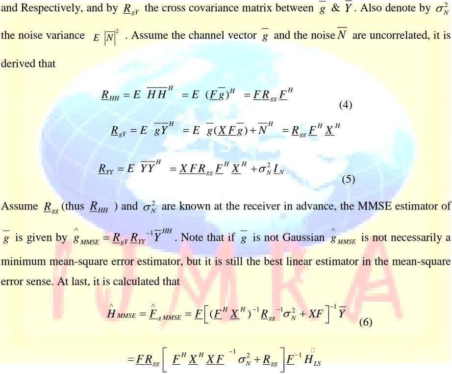 R 2 gY N and Respectively, and by the cross covariance matrix between g &