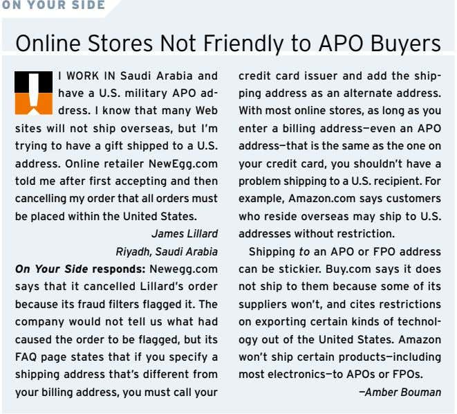 ON YOUR SIDE Online Stores Not Friendly to APO Buyers I WORK IN Saudi Arabia