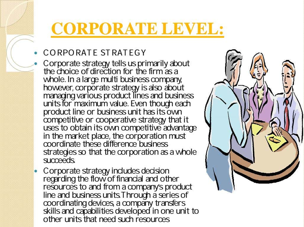 CORPORATECORPORATE LEVEL:LEVEL:  CORPORATE STRATEGY  Corporate strategy tells us primarily about the choice of