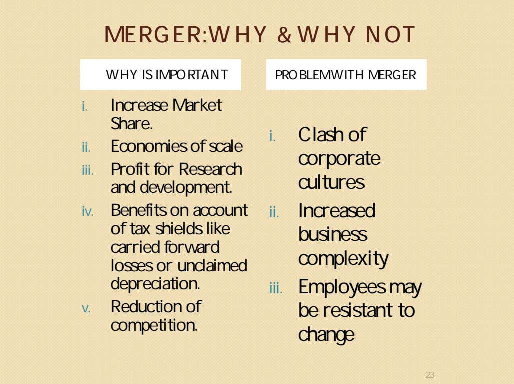 MERGER:WHYMERGER:WHY && WHYWHY NOTNOT WHY IS IMPORTANT PROBLEM WITH MERGER i. Increase Market Share. ii.