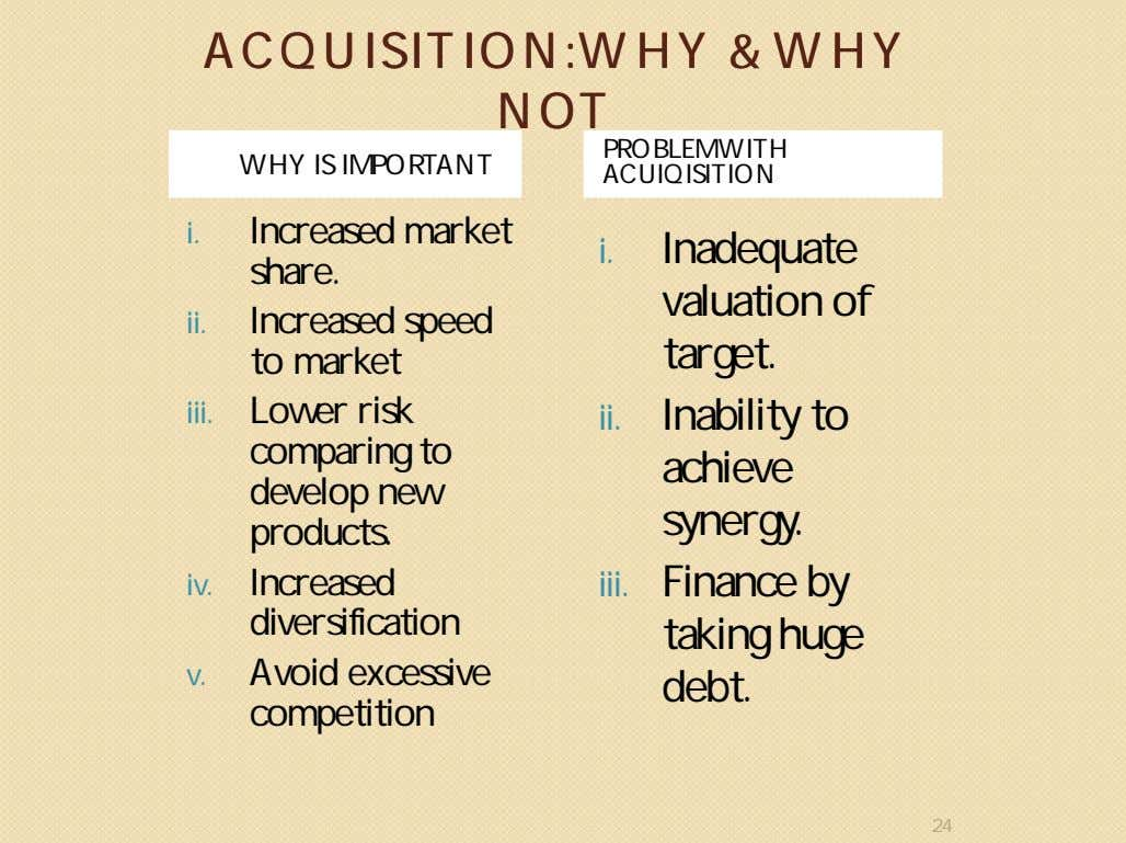 ACQUISITION:WHYACQUISITION:WHY && WHYWHY NOTNOT WHY IS IMPORTANT PROBLEM WITH ACUIQISITION i. Increased