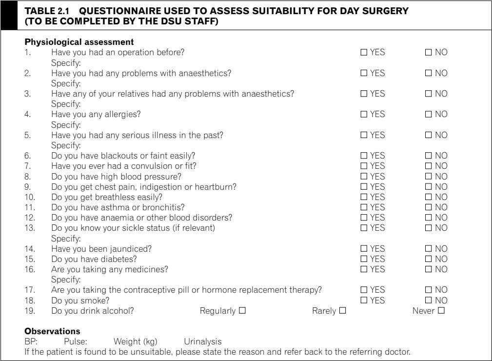 TABLE 2.1 QUESTIONNAIRE USED TO ASSESS SUITABILITY FOR DAY SURGERY (TO BE COMPLETED BY THE
