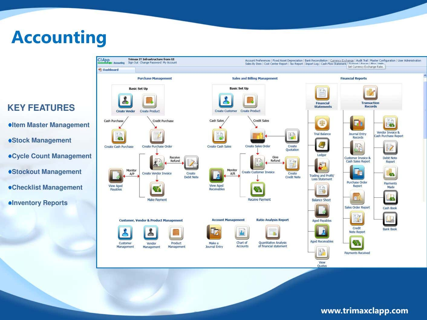 Accounting KEY FEATURES Item Master Management Stock Management Cycle Count Management Stockout Management Checklist