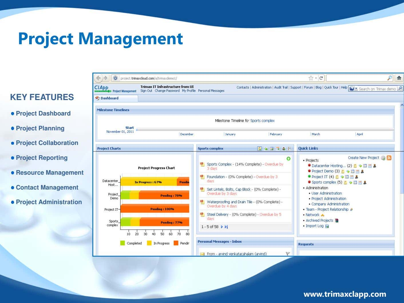 Project Management KEY FEATURES Project Dashboard Project Planning Project Collaboration Project Reporting Resource