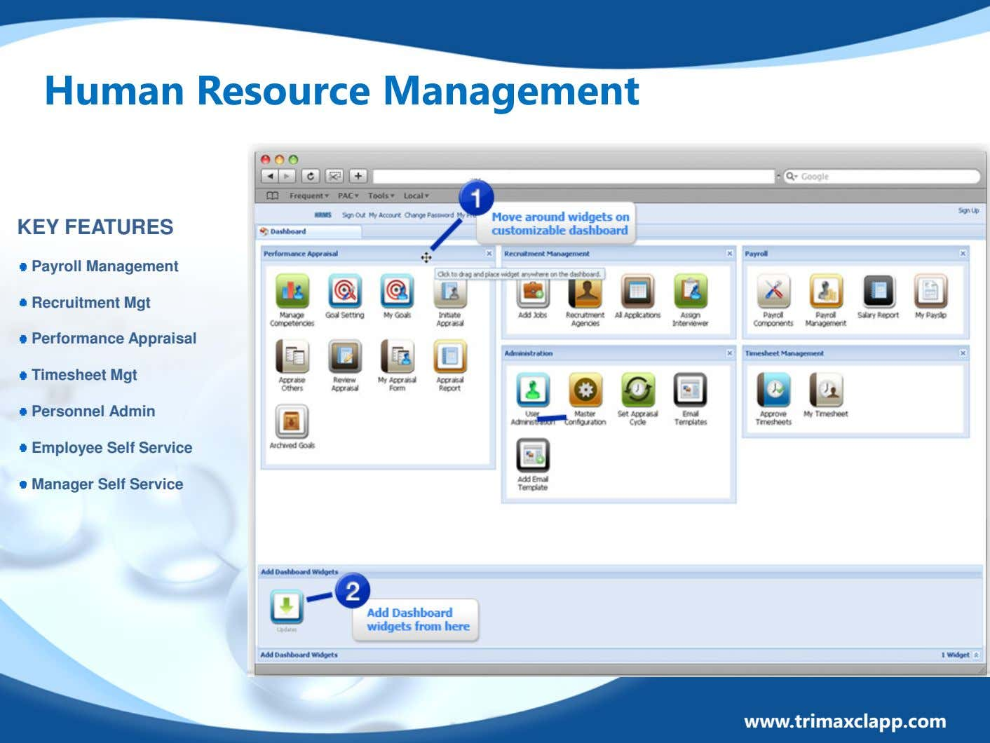Human Resource Management KEY FEATURES Payroll Management Recruitment Mgt Performance Appraisal Timesheet Mgt