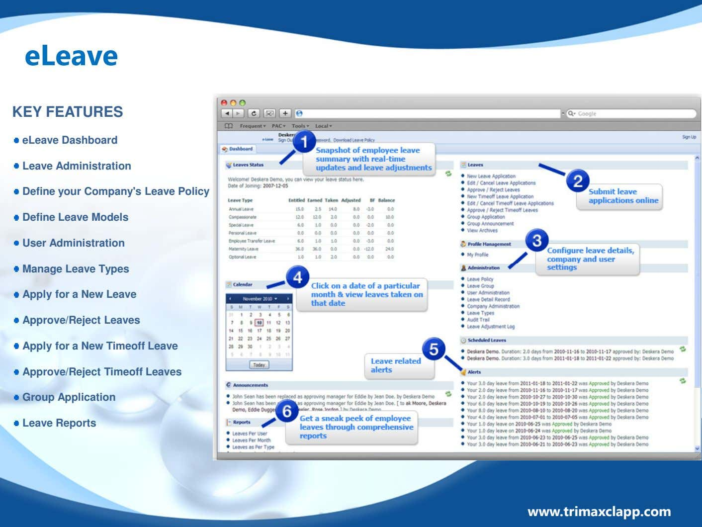 eLeave KEY FEATURES eLeave Dashboard Leave Administration Define your Company's Leave Policy Define Leave Models