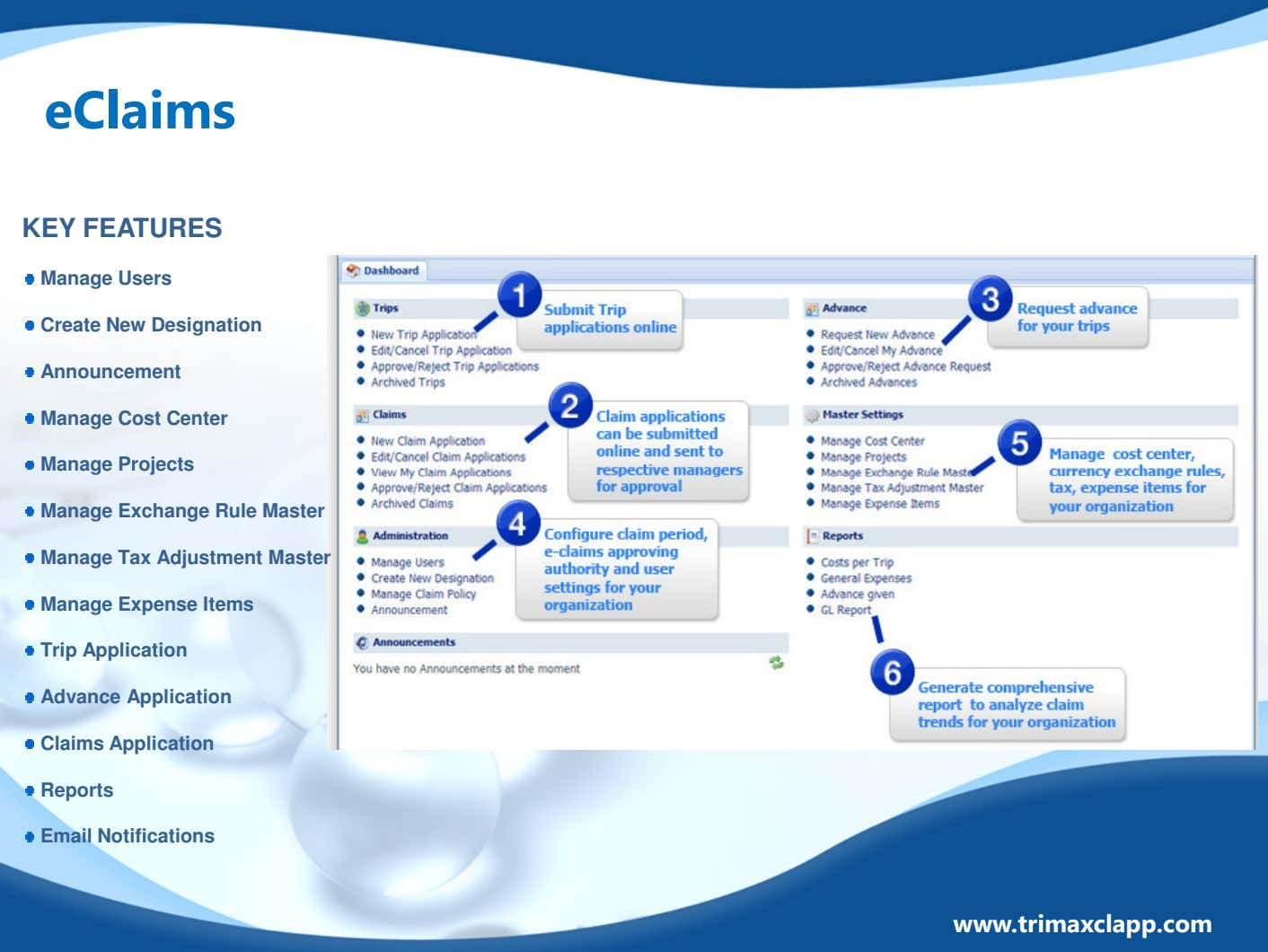 eClaims KEY FEATURES Manage Users Create New Designation Announcement Manage Cost Center Manage Projects Manage