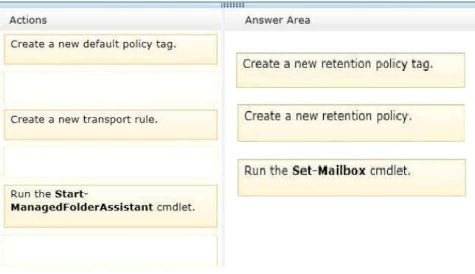 Section: [none] Explanation Explanation/Reference: Explanation: Box 1: Create a new retention policy tag. Box 2: