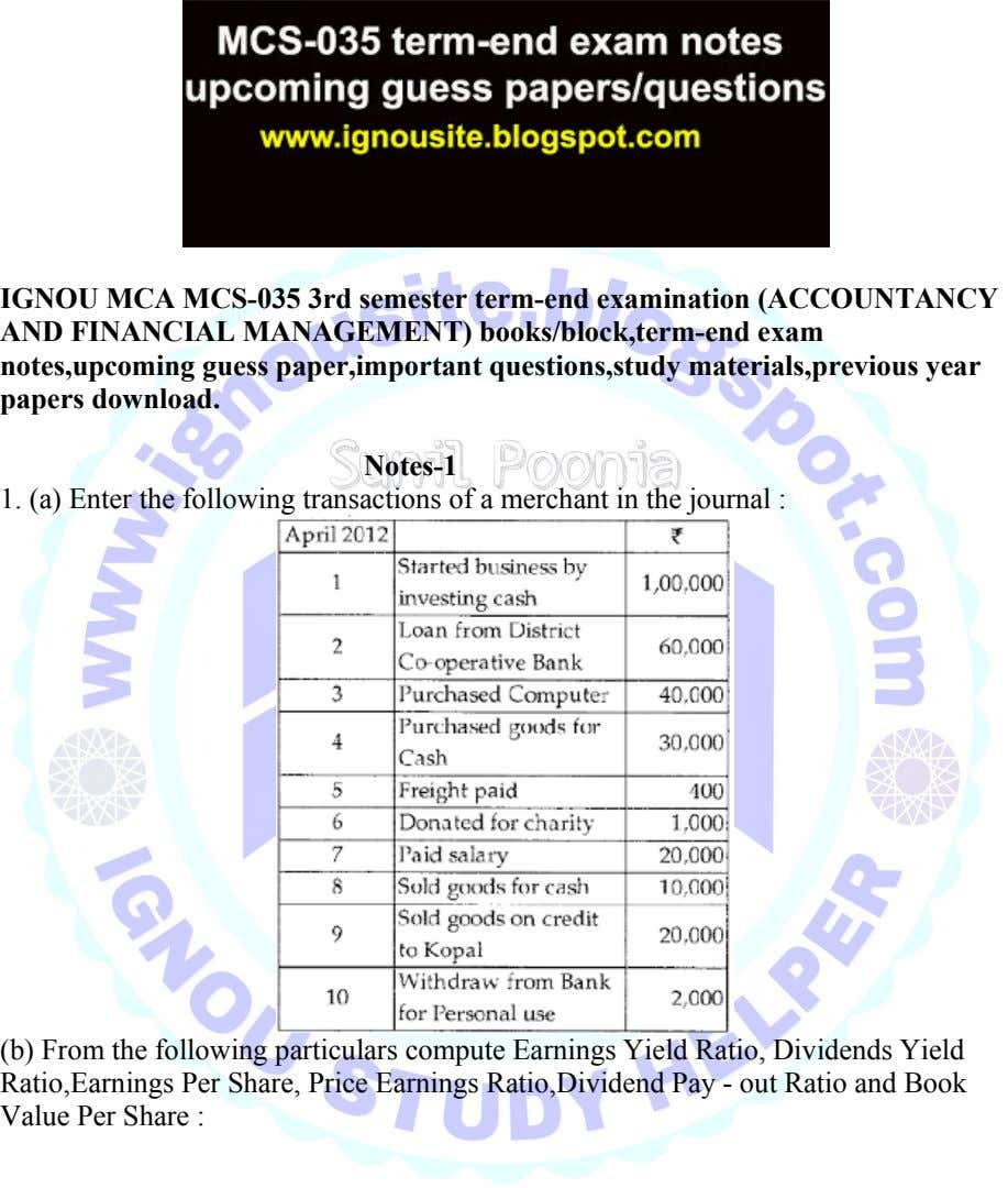 IGNOU MCA MCS-035 3rd semester term-end examination (ACCOUNTANCY AND FINANCIAL MANAGEMENT) books/block,term-end exam