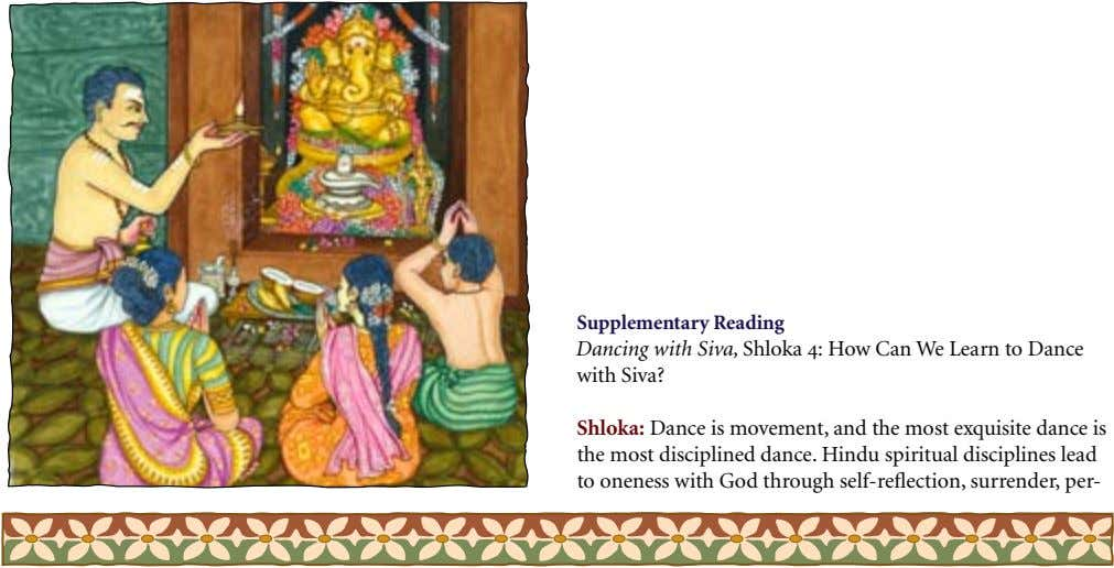 Supplementary Reading Dancing with Siva, Shloka 4: How Can We Learn to Dance with Siva? Shloka: