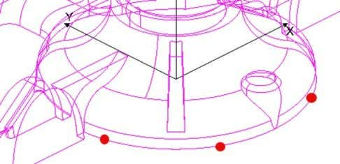 image shows 3 red dots in the radius to me measured. 5. Place the cursor over