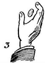 with the fingers pointing upward; as the coin falls appar- ently into the hand the fingers