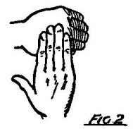 above the right hand, which pats it, and then turns round, showing the palm, and then