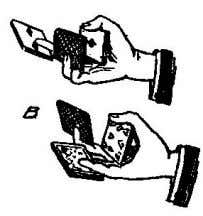 Fig. 4.) THE TRIPLE PASS WITH BOTH HANDS SIMULTANEOUSLY. This is not a trick in itself,