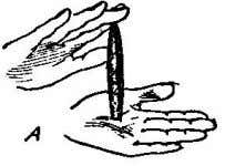 Fig. C). The cigar is really palmed in right hand by being held between the tip