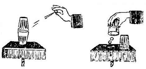COIN TRICKS. THE FLYING COINS. Two empty tumblers are shown to the audience; one is inverted
