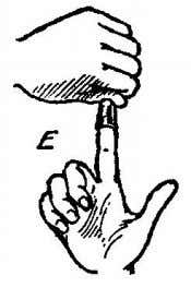 is closed and the right first finger is pushed into it (See Fig. D) and withdrawn