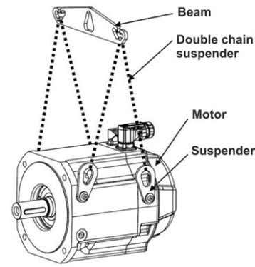 nominal span of the extreme suspension hooks of 292 mm. The suspended unit consists of a
