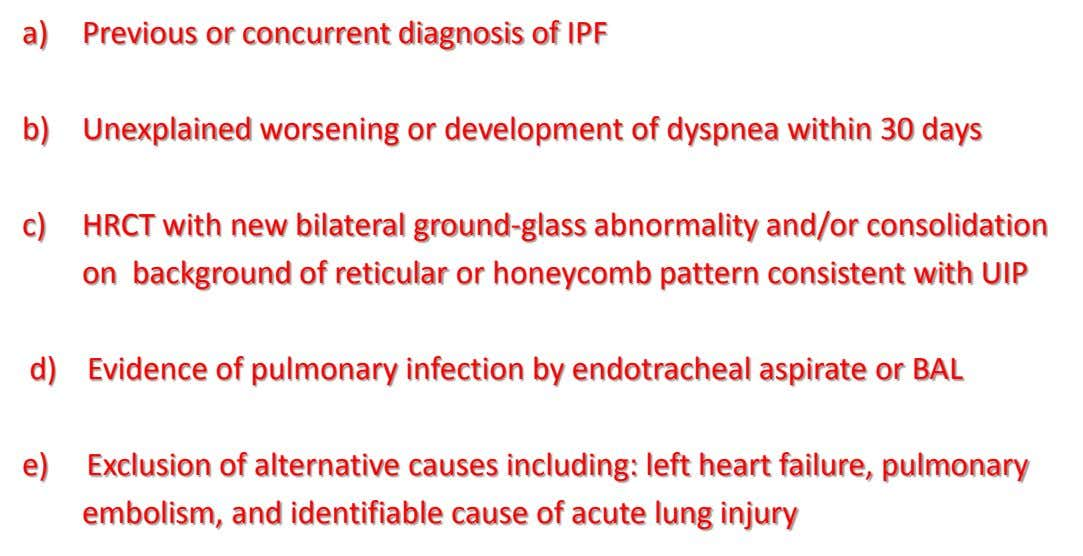 a) Previous or concurrent diagnosis of IPF b) Unexplained worsening or development of dyspnea within 30