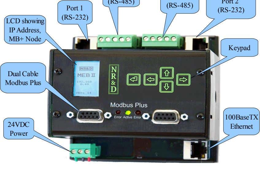 Port 1 (RS-232) LCD showing IP Address, MB+ Node Keypad Dual Cable Modbus Plus 100BaseTX