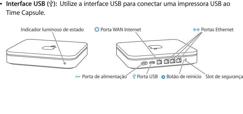 Interface USB (d): Utilize a interface USB para conectar uma impressora USB ao Time