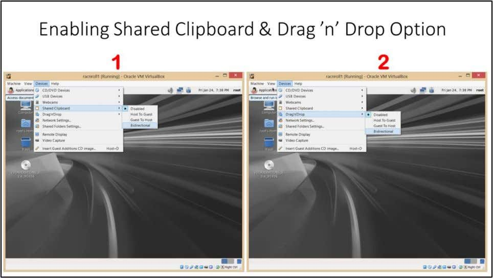 Oracle Linux Release 6 Update 5 Installation Enabling Shared Clipboard & Drag 'n' Drop Option