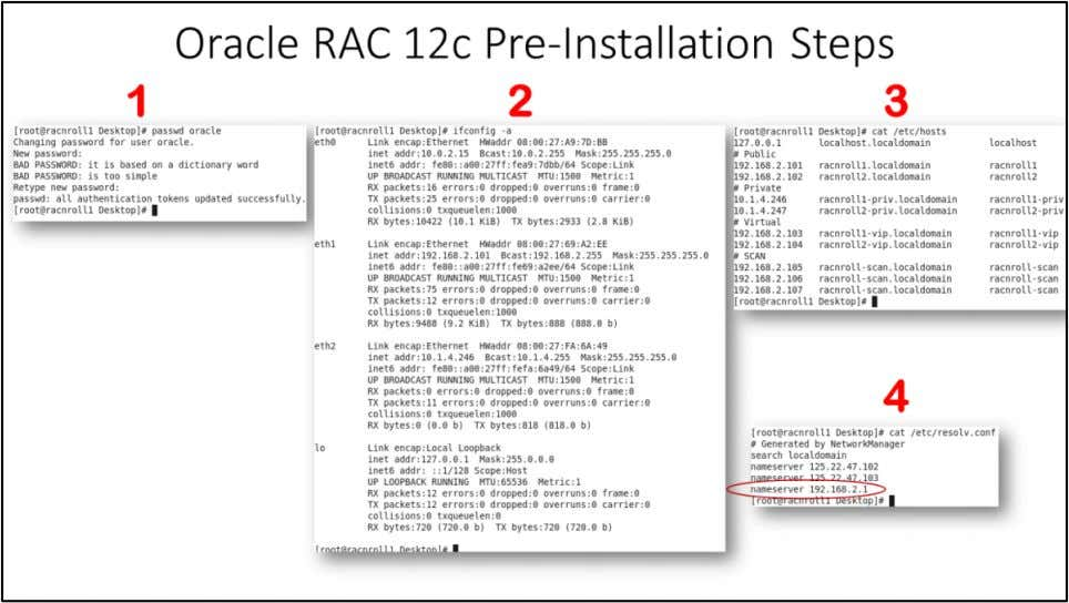 "Oracle RAC 12c Pre-Installation Steps 1. Change ""oracle"" user password, here in HOL ""oracle"" password"