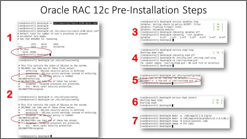 "Oracle RAC 12c Pre-Installation Steps 1. Update "" /etc /security/limits.d /90-nproc.conf "" and change *"