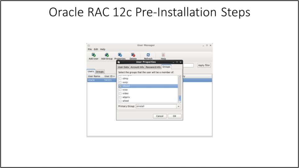 Oracle RAC 12c Pre-Installation Steps This step is required to access Oracle Software bits from