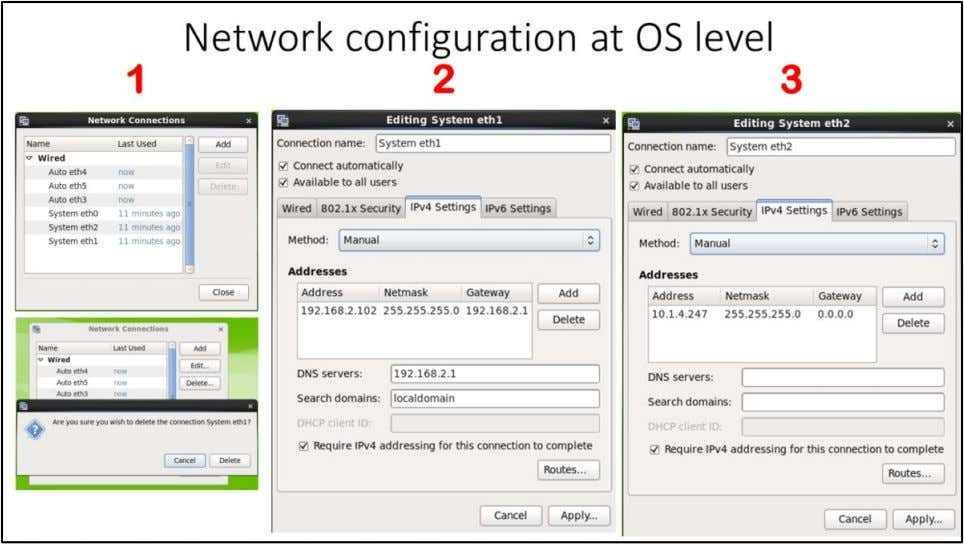 "Network configuration at OS level Start ""racnroll2"" VM using ""start"" button. 1. Go to Network"