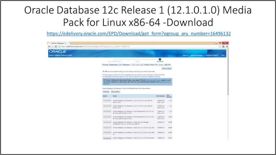 Oracle Database 12c Release 1 (12.1.0.1.0) Media Pack for Linux x86-64 – Download Download Oracle