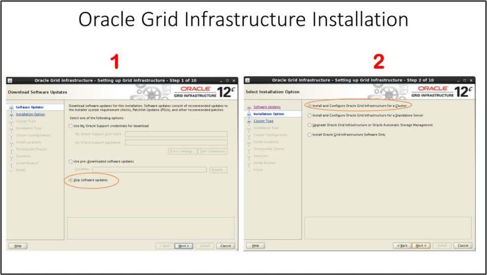"Oracle Grid Infrastructure Installation 1. Download Software Updates window - Select ""Skip software updates"" and"