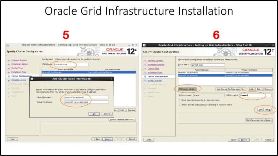 "Oracle Grid Infrastructure Installation – Specify Cluster Configuration window 5. Enter ""SCAN Name"" as """
