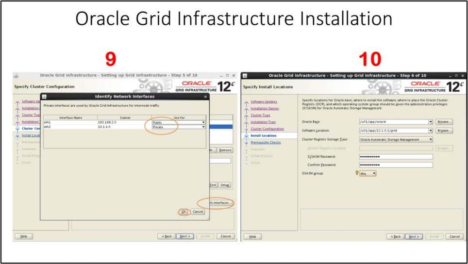 "Oracle Grid Infrastructure Installation 9. Specify Cluster Configuration Window - Click on ""Identify network"
