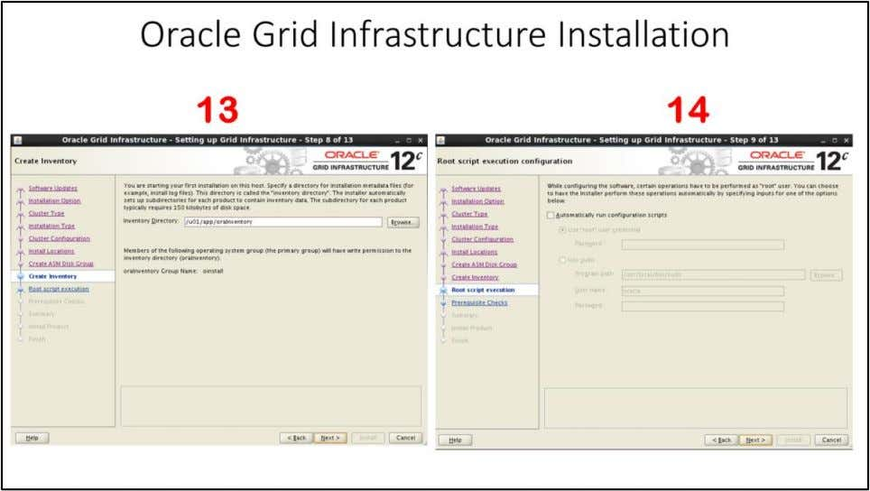 Oracle Grid Infrastructure Installation 13. Create Inventory window – Choose Inventory Directory – by default