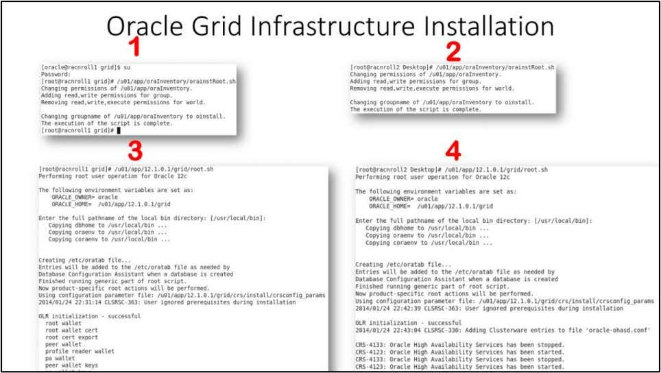 "Oracle Grid Infrastructure Installation Execute Configuration scripts 1 . Login as root user to ""racnroll1"""