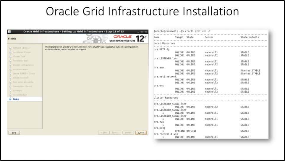 Oracle Grid Infrastructure Installation You should see the confirmation that installation of the Grid Infrastructure