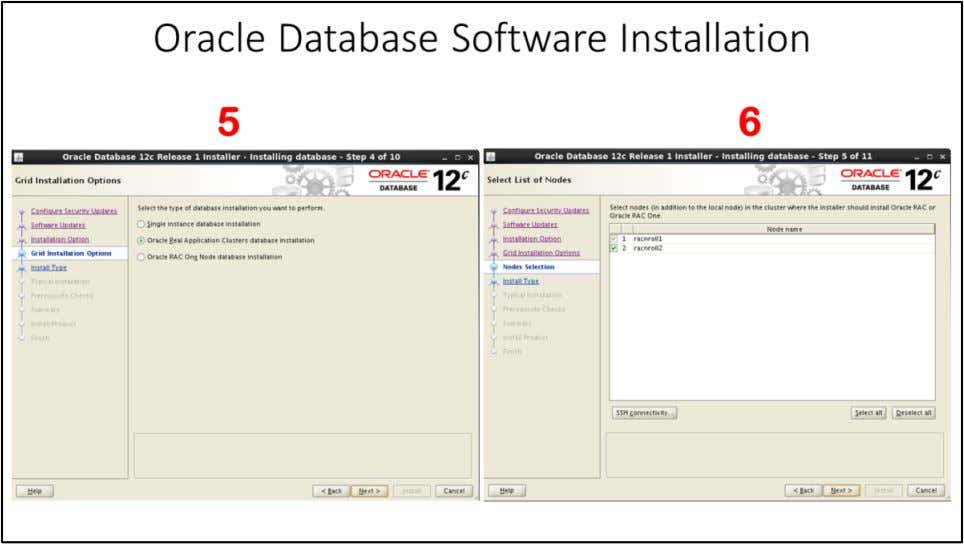 "Oracle Database Software Installation 5. Choose ""Grid installation Option"", Since we are installing Oracle RAC,"