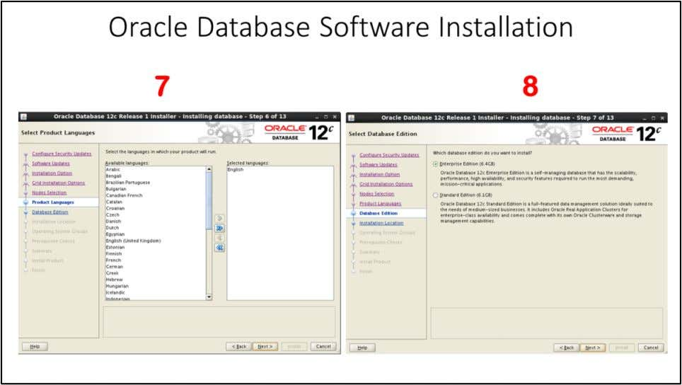 "Oracle Database Software Installation 7. By default ""English"" is product language, you can choose more"