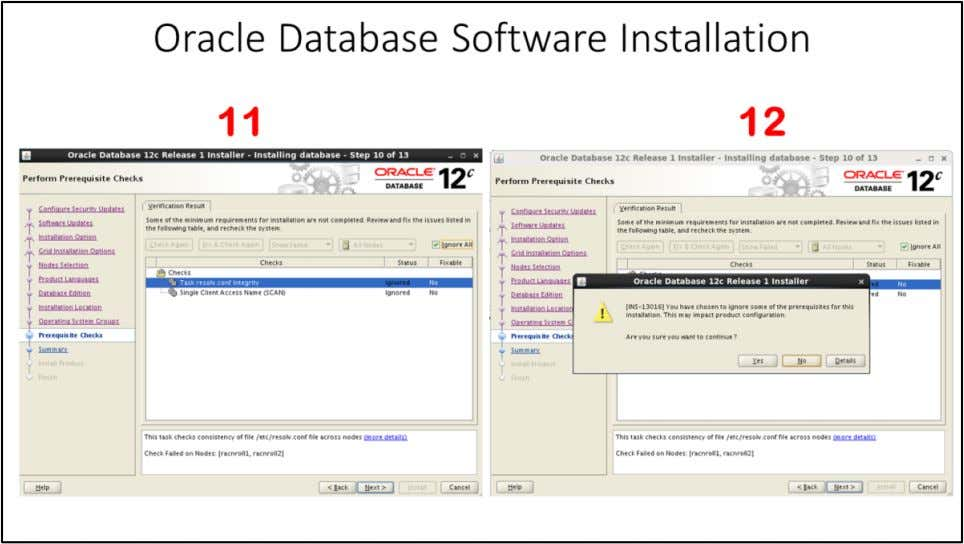 "Oracle Database Software Installation 11. You can see warnings/errors in ""Perform Prerequisite Checks"" window. You"
