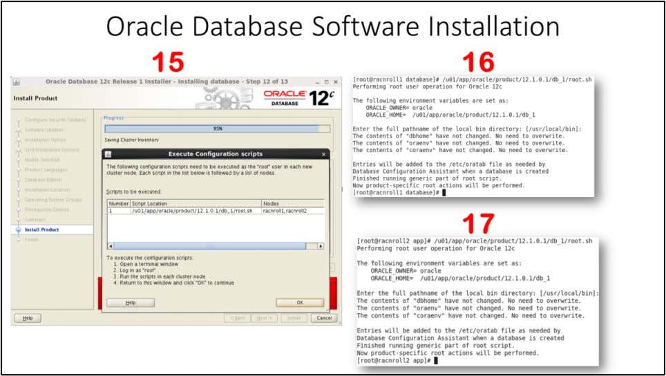 "Oracle Database Software Installation 15. ""Execute Configuration scripts"" window will appear. Execute ""root.sh"""