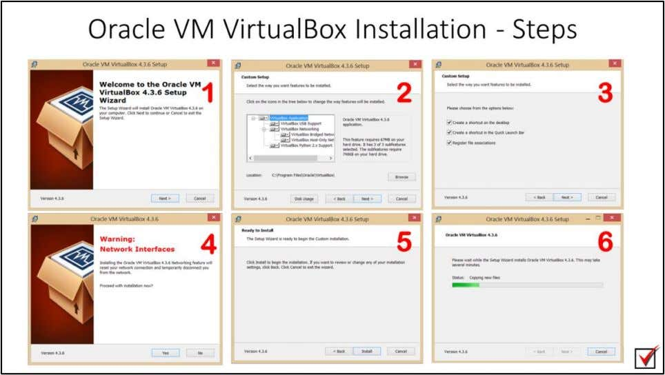 "Oracle VM VirtualBox Installation - Steps 1. Double click on ""VirtualBox -4.3.6-91406- Win.exe"" 2. Choose"