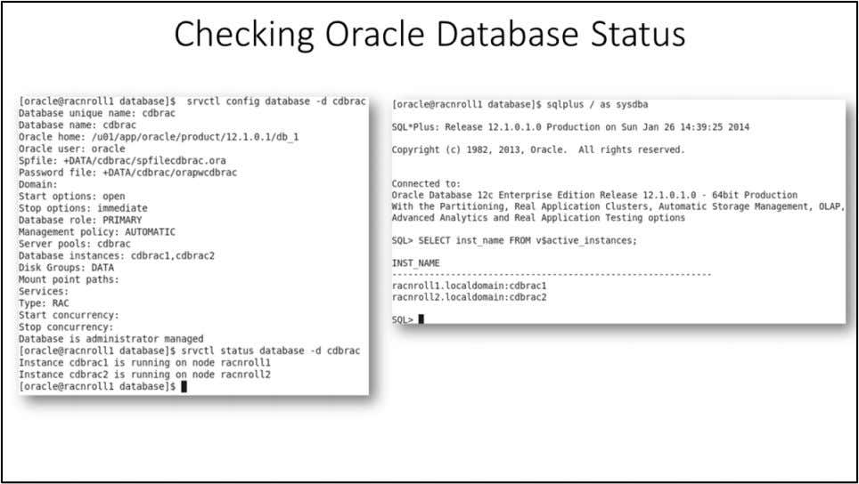 "Checking Oracle Database Status Using "" srvctl "" command to check the status of Oracle"