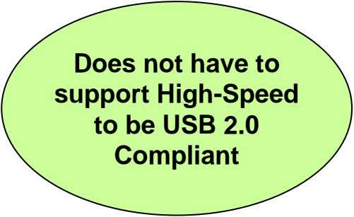 Does not have to support High-Speed to be USB 2.0 Compliant