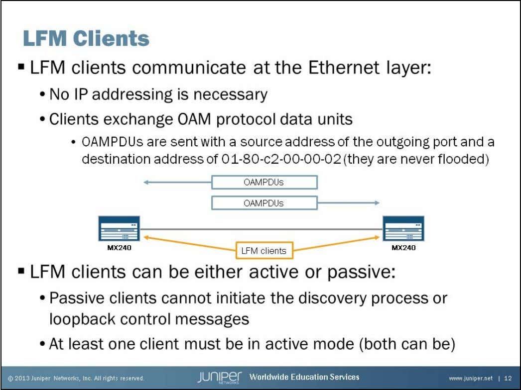 Junos Service Provider Switching LFM Clients A switch must have LFM client capabilities to support LFM.