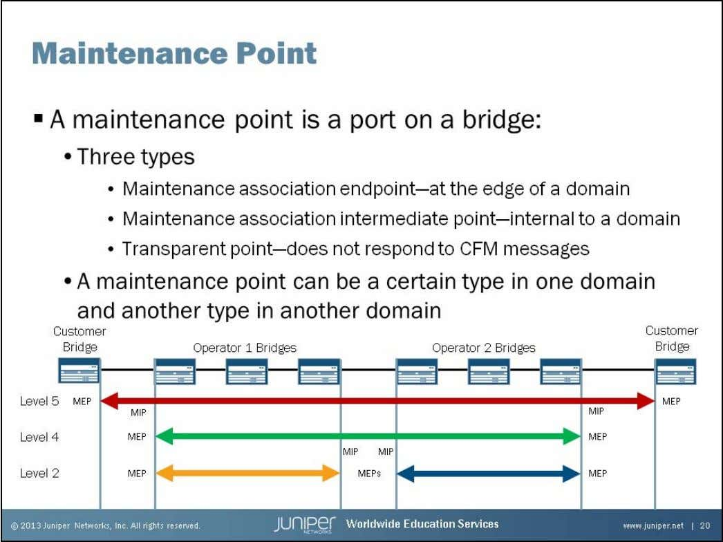 Junos Service Provider Switching Maintenance Points A maintenance point is a port or interface on a