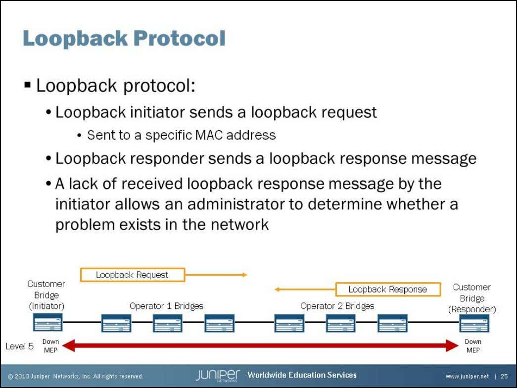 Junos Service Provider Switching Loopback Protocol The loopback protocol is similar to ping in IP and